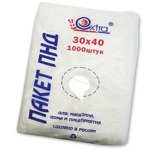 Пакет фасовочный 30х40 упак/1000 шт, 10 мкм